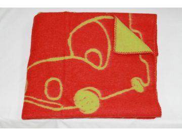 """Дизайнерское шерстяное одеяло """"Машинки алые"""""""