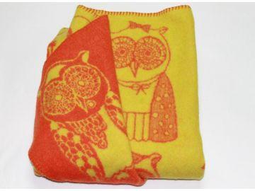 """Дизайнерское шерстяное одеяло """"Оранжевые cовы"""""""