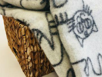 """Дизайнерское шерстяное одеяло """"Cерые коты"""""""
