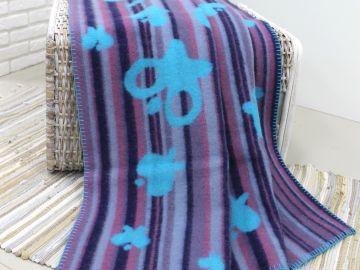 """Дизайнерское шерстяное одеяло """"Голубые бабочки"""""""