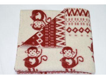 """Дизайнерское шерстяное одеяло """"Обезьянки бордо"""""""