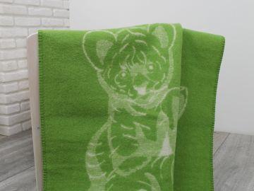 """Дизайнерское шерстяное одеяло """"Зеленые тигрята"""""""
