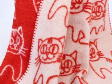 """Дизайнерское шерстяное одеяло """"Красные коты"""""""
