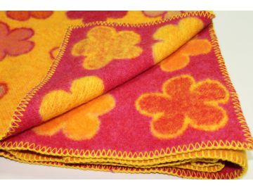 """Дизайнерское шерстяное одеяло """"Оранжевые ромашки"""""""