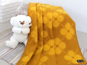 """Дизайнерское шерстяное одеяло """"Желтые фиалки"""""""