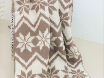 """Дизайнерское шерстяное одеяло""""Снежинки braun"""""""